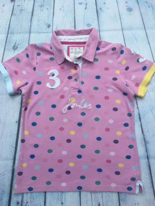 Joules pink polo shirt with multi-coloured spots age 9-10